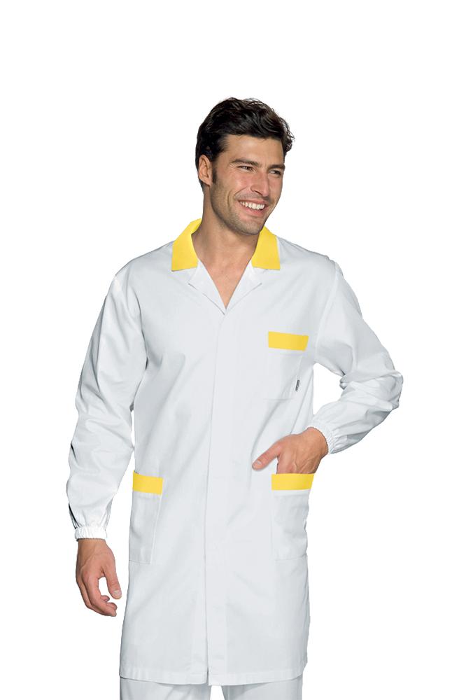 100/% Cotone Bottoni a pressione Isacco Camice Medico Bianco L Tessuto 190 gr//m/² Bianco Manica Lunga