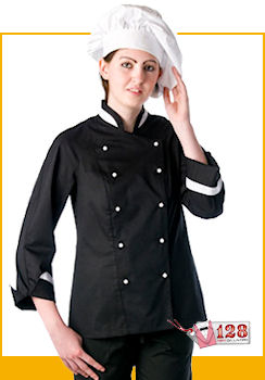 : GIACCA LADY CHEF NERA BORDATA